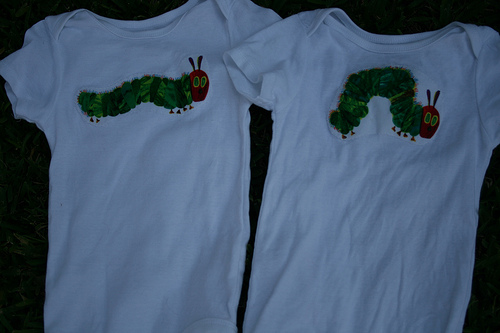 Caterpillar birthday onesies