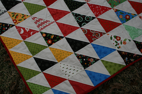 close up half square triangle quilt