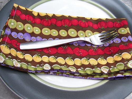 Rows of fruit napkins