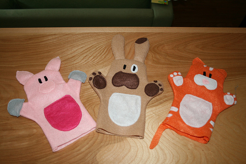 Pig, dog, cat puppets