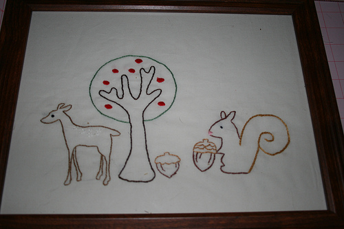 Deer and Squirrel embroidery